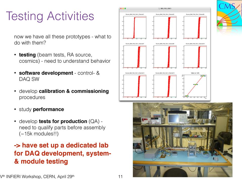 DAQ SW develop calibration & commissioning procedures study performance develop tests for production (QA)