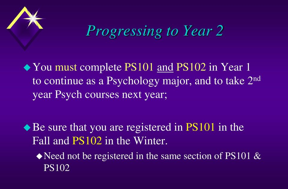 next year; Be sure that you are registered in PS101 in the Fall and