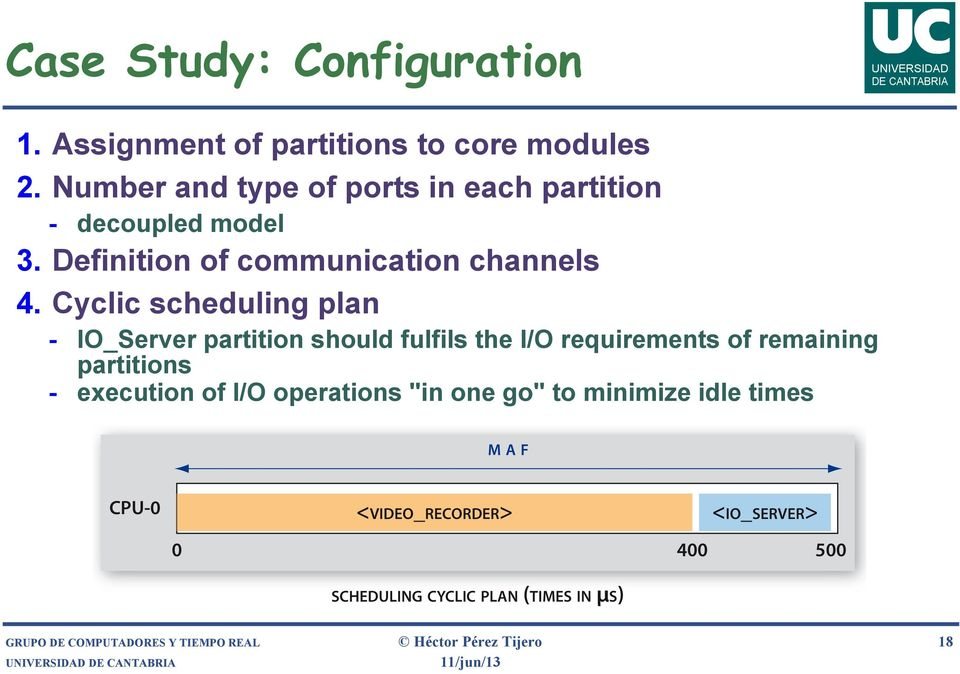 Cyclic scheduling plan - IO_Server partition should fulfils the I/O requirements of remaining partitions - execution of
