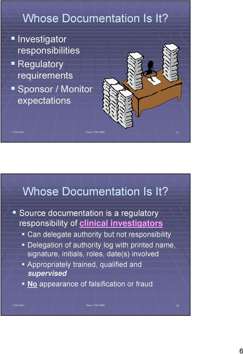 documentation is a regulatory responsibility of clinical investigators Can delegate authority but not responsibility Delegation