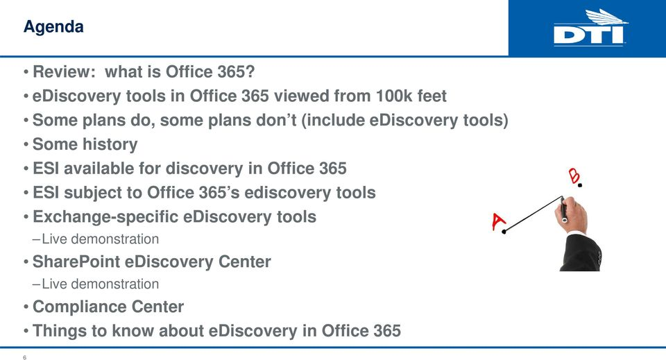 ediscovery tools) Some history ESI available for discovery in Office 365 ESI subject to Office 365 s