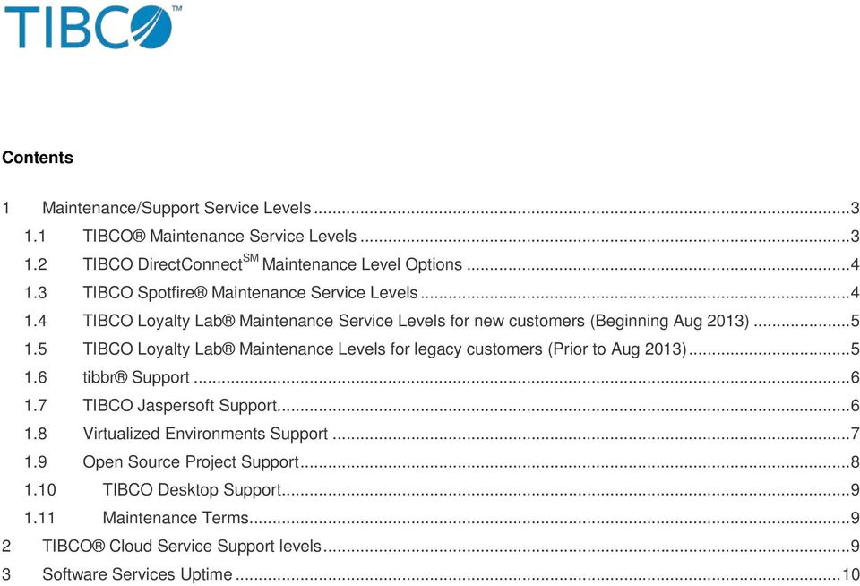 5 TIBCO Loyalty Lab Maintenance Levels for legacy customers (Prior to Aug 2013)... 5 1.6 tibbr Support... 6 1.7 TIBCO Jaspersoft Support... 6 1.8 Virtualized Environments Support.