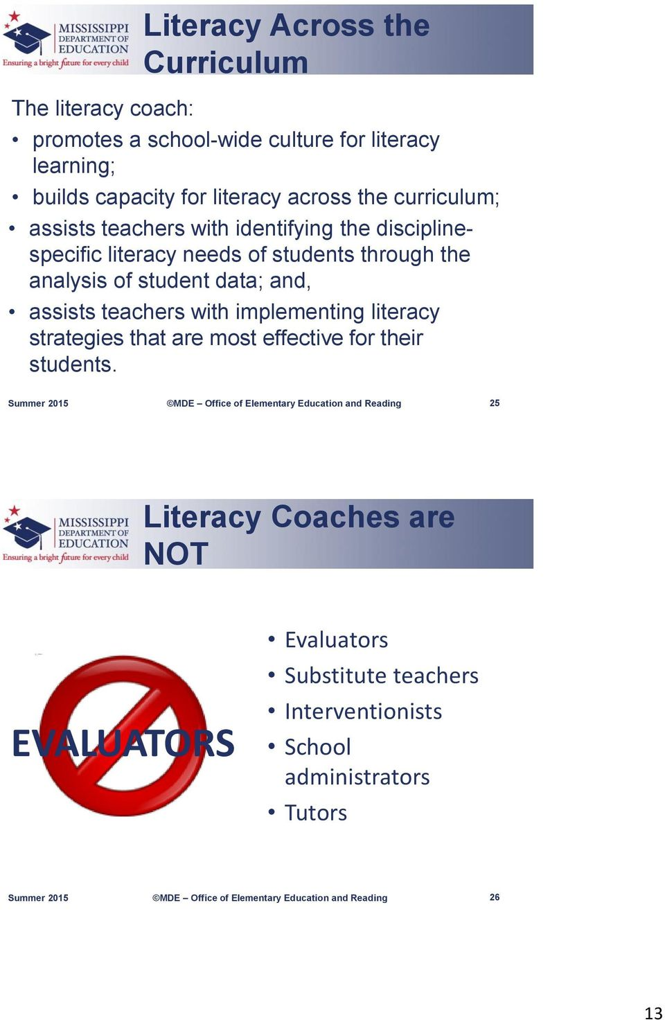 the analysis of student data; and, assists teachers with implementing literacy strategies that are most effective for their