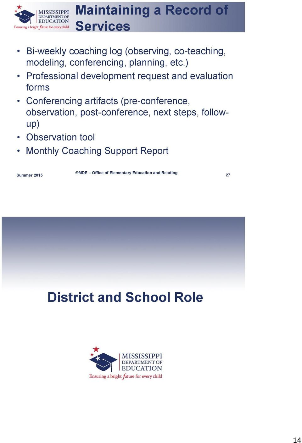 ) Professional development request and evaluation forms Conferencing artifacts