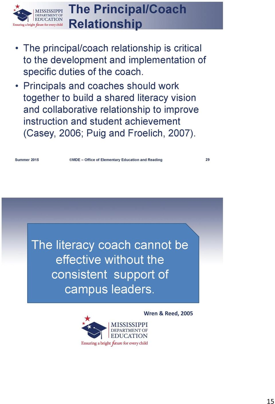Principals and coaches should work together to build a shared literacy vision and collaborative relationship to