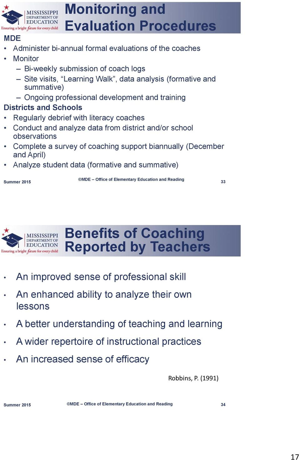 survey of coaching support biannually (December and April) Analyze student data (formative and summative) 33 Benefits of Coaching Reported by Teachers An improved sense of professional skill An