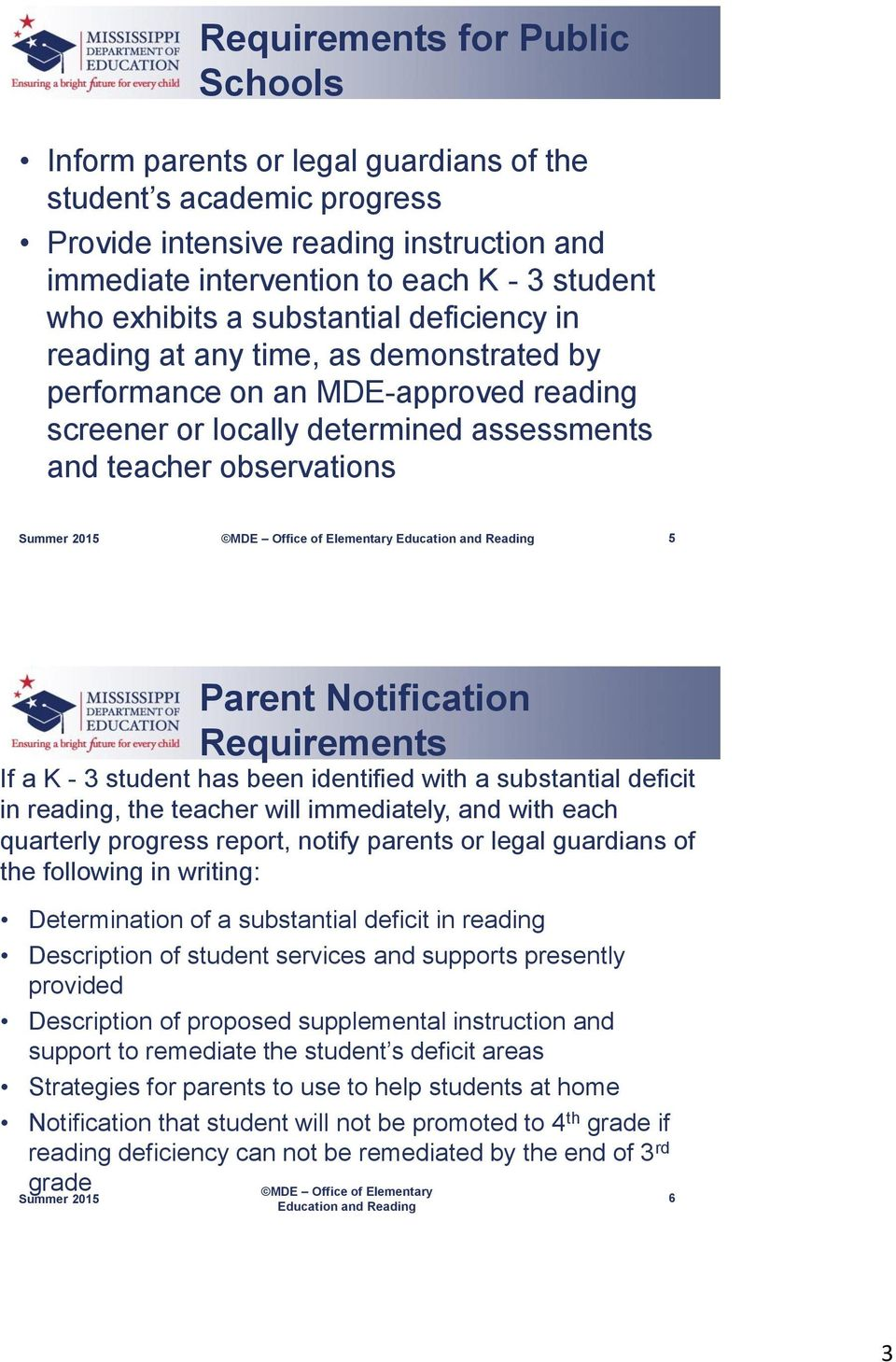 Notification Requirements If a K - 3 student has been identified with a substantial deficit in reading, the teacher will immediately, and with each quarterly progress report, notify parents or legal