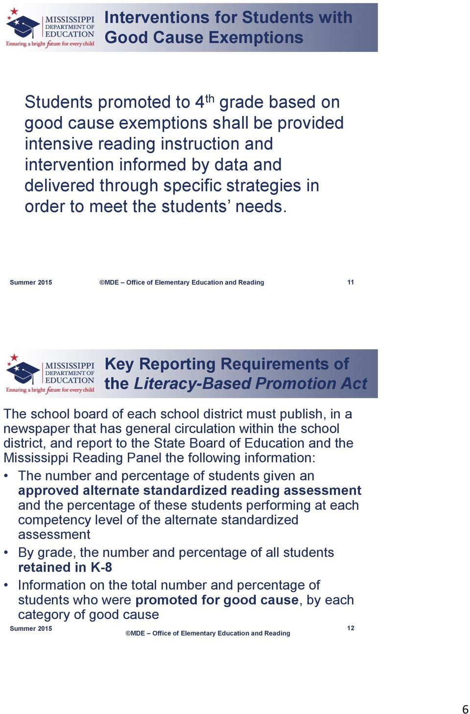 11 The school board of each school district must publish, in a newspaper that has general circulation within the school district, and report to the State Board of Education and the Mississippi