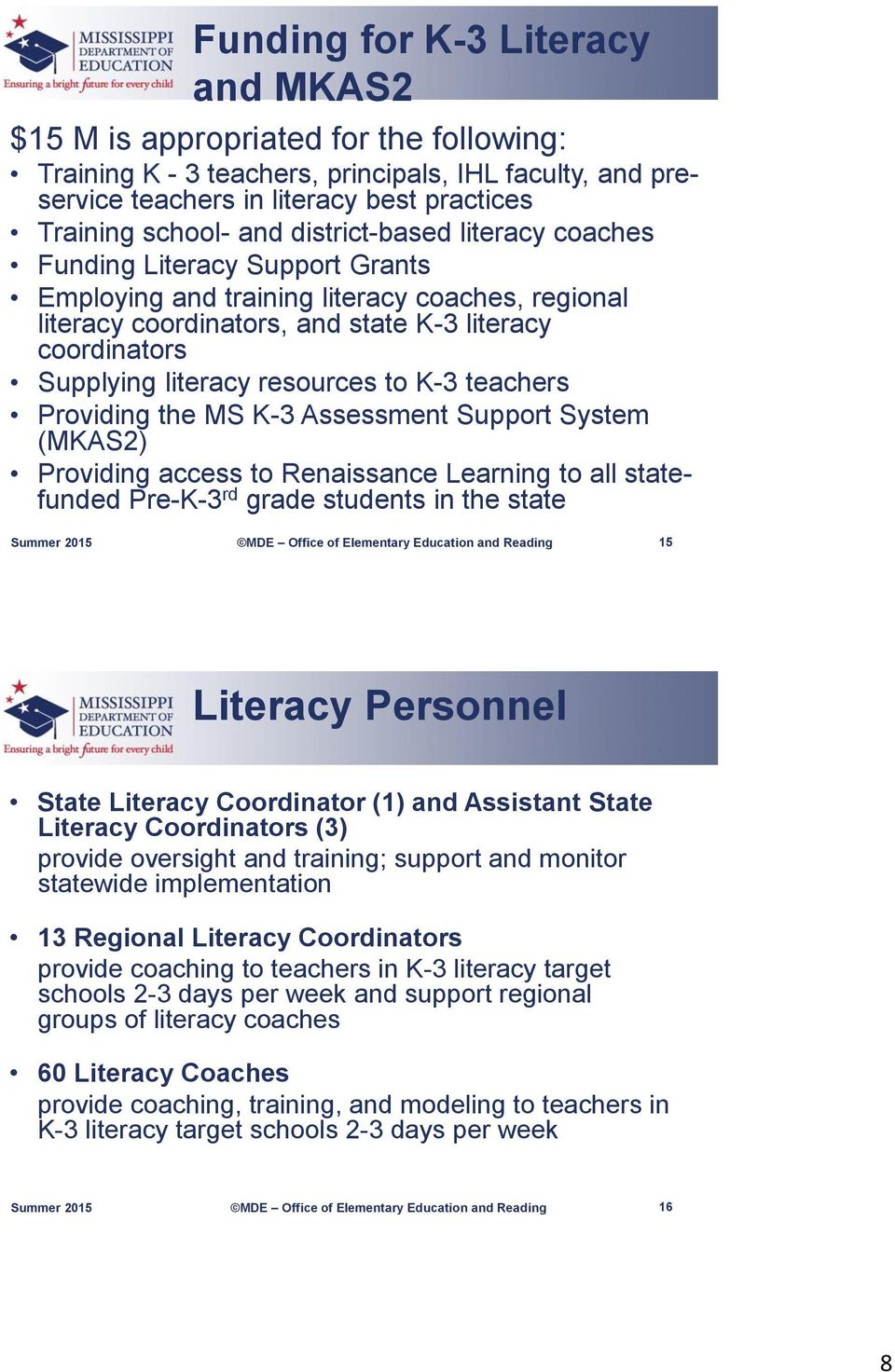 resources to K-3 teachers Providing the MS K-3 Assessment Support System (MKAS2) Providing access to Renaissance Learning to all statefunded Pre-K-3 rd grade students in the state 15 Literacy
