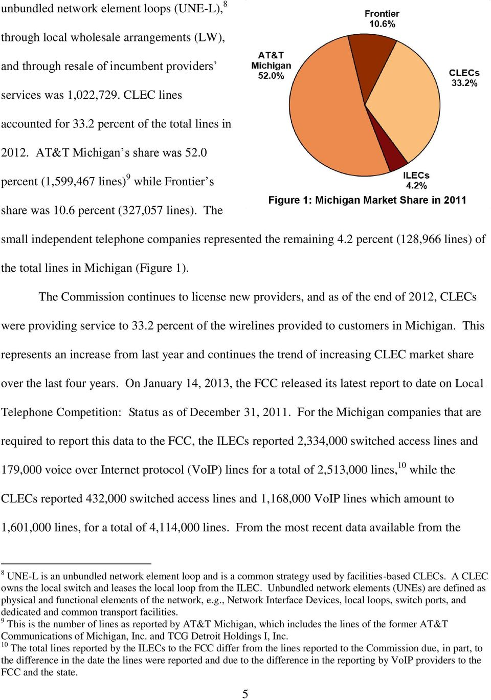The Figure 1: Michigan Market Share in 2011 small independent telephone companies represented the remaining 4.2 percent (128,966 lines) of the total lines in Michigan (Figure 1).