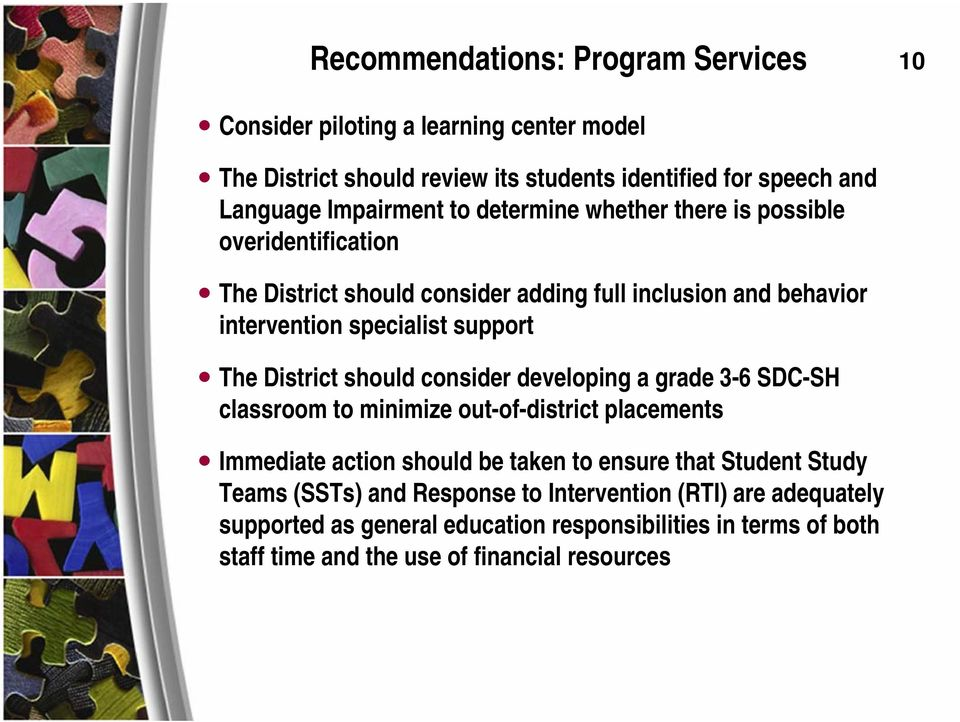 District should consider developing a grade 3-6 SDC-SH classroom to minimize out-of-district placements Immediate action should be taken to ensure that Student Study