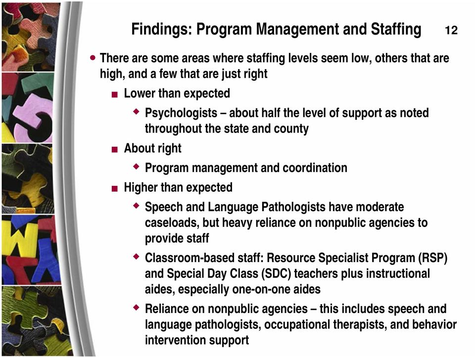 Pathologists have moderate caseloads, but heavy reliance on nonpublic agencies to provide staff Classroom-based staff: Resource Specialist Program (RSP) and Special Day Class (SDC)