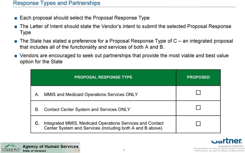 Proposal Response Type of C an integrated proposal that includes all of the functionality and services of both A
