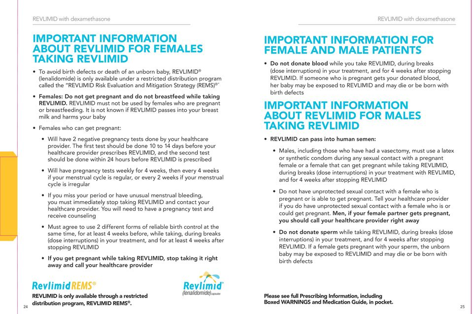 REVLIMID must not be used by females who are pregnant or breastfeeding.