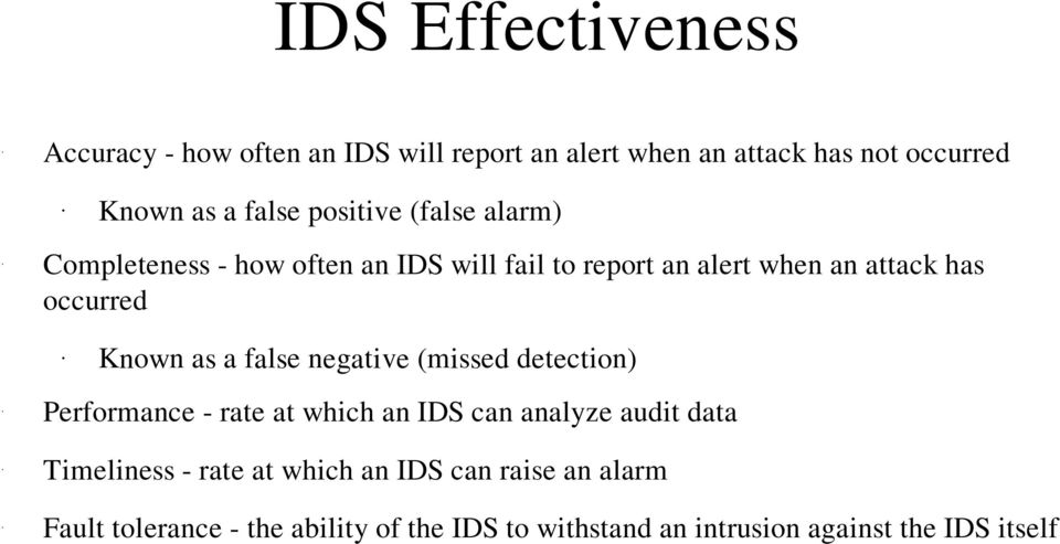 as a false negative (missed detection) Performance Timeliness Fault rate at which an IDS can analyze audit data