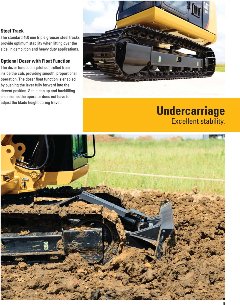 Optional Dozer with Float Function The dozer function is pilot controlled from inside the cab, providing smooth, proportional