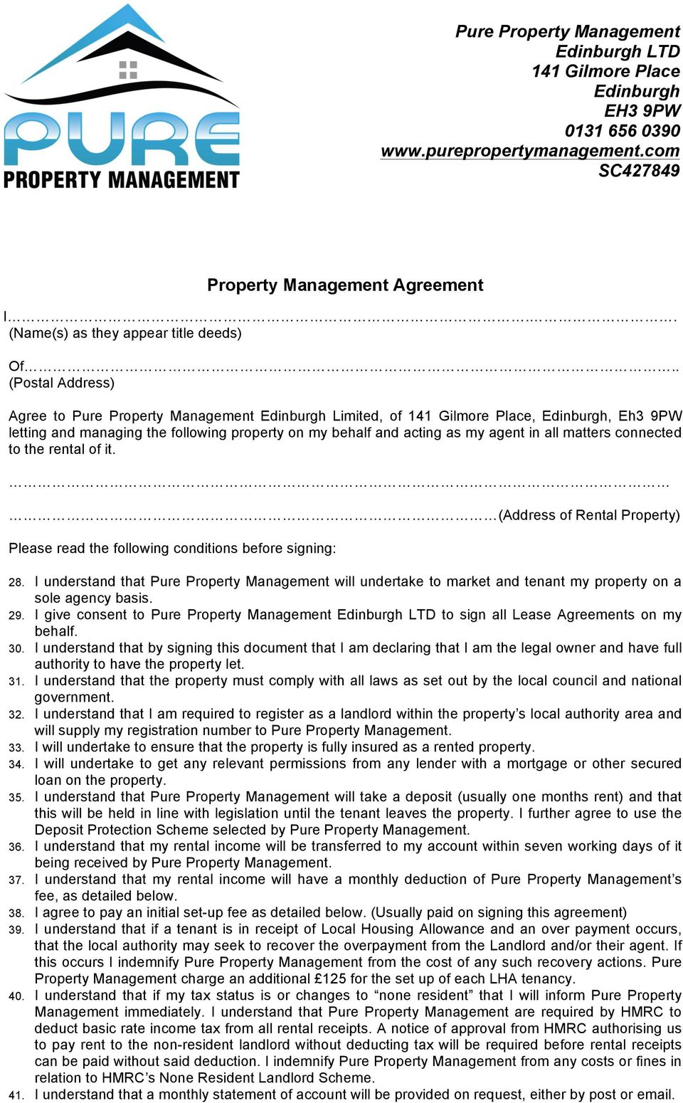 Property Management Agreement Pdf