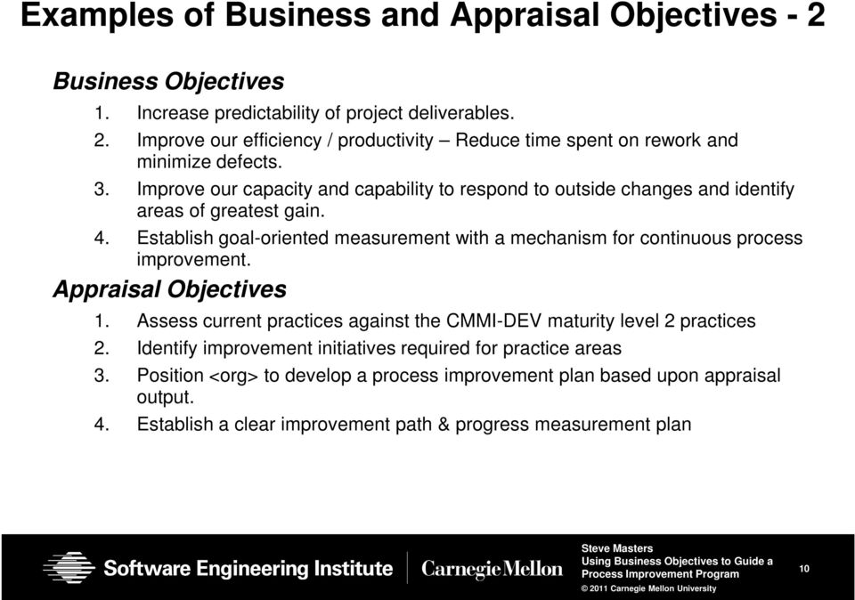 Establish goal-oriented measurement with a mechanism for continuous process improvement. Appraisal Objectives 1.