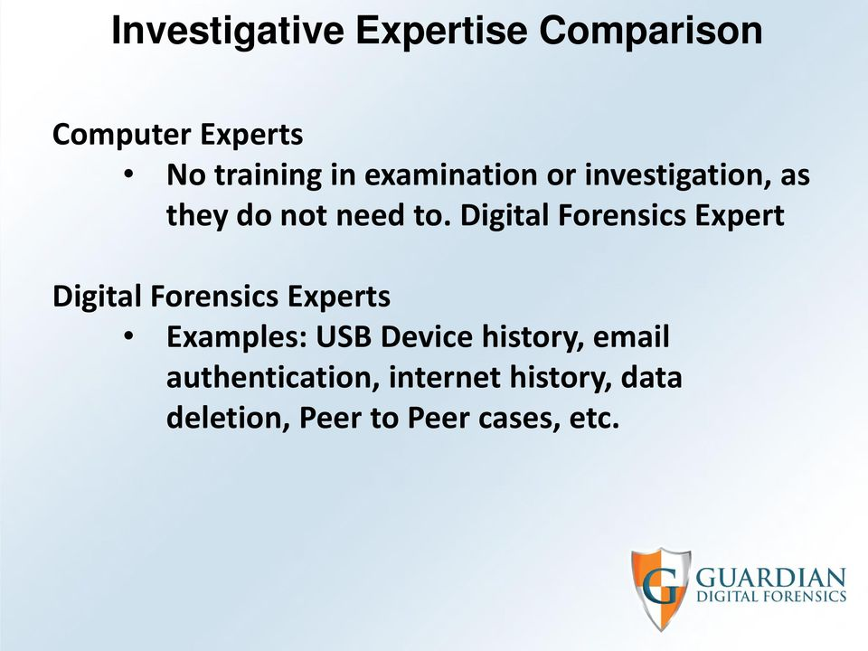 Digital Forensics Expert Digital Forensics Experts Examples: USB