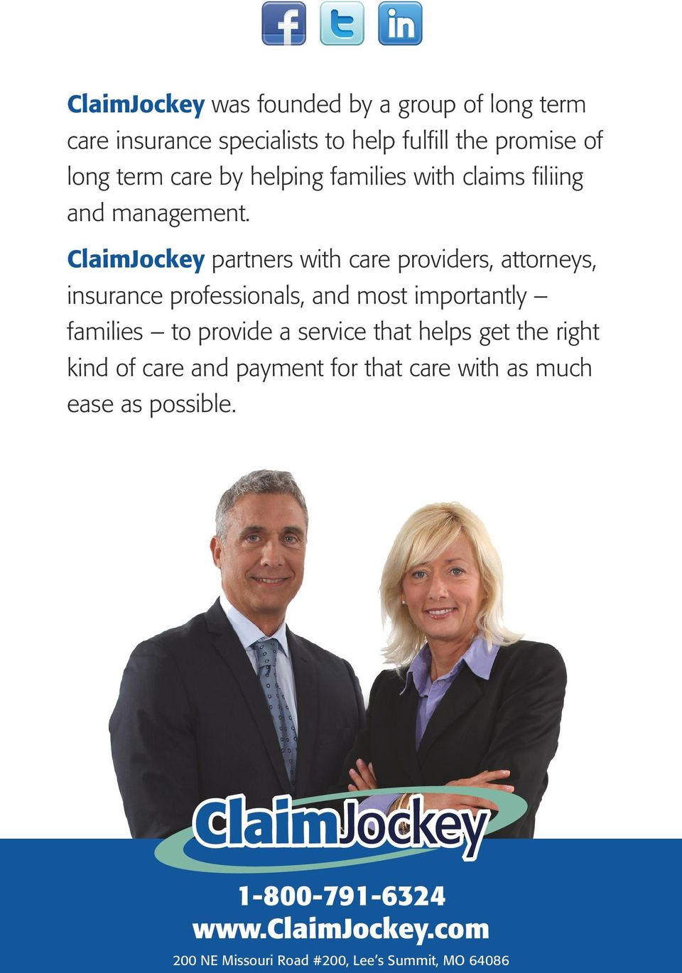 ClaimJockey partners with care providers, attorneys, insurance professionals, and most importantly families to provide a