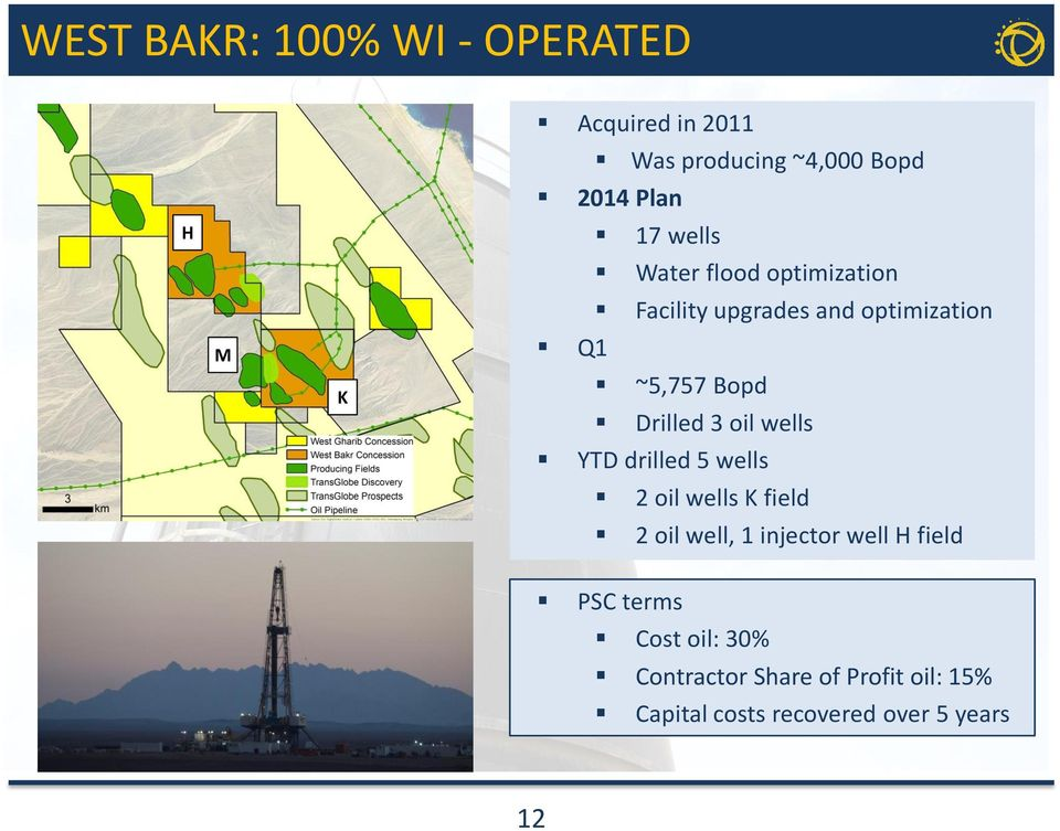 oil wells YTD drilled 5 wells 2 oil wells K field 2 oil well, 1 injector well H field PSC