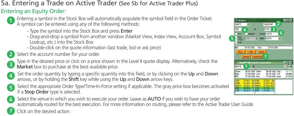 Symbol Lookup, etc.) into the Stock Box - Double-click on the quote information (last trade, bid or ask price) Select the account number for your order.