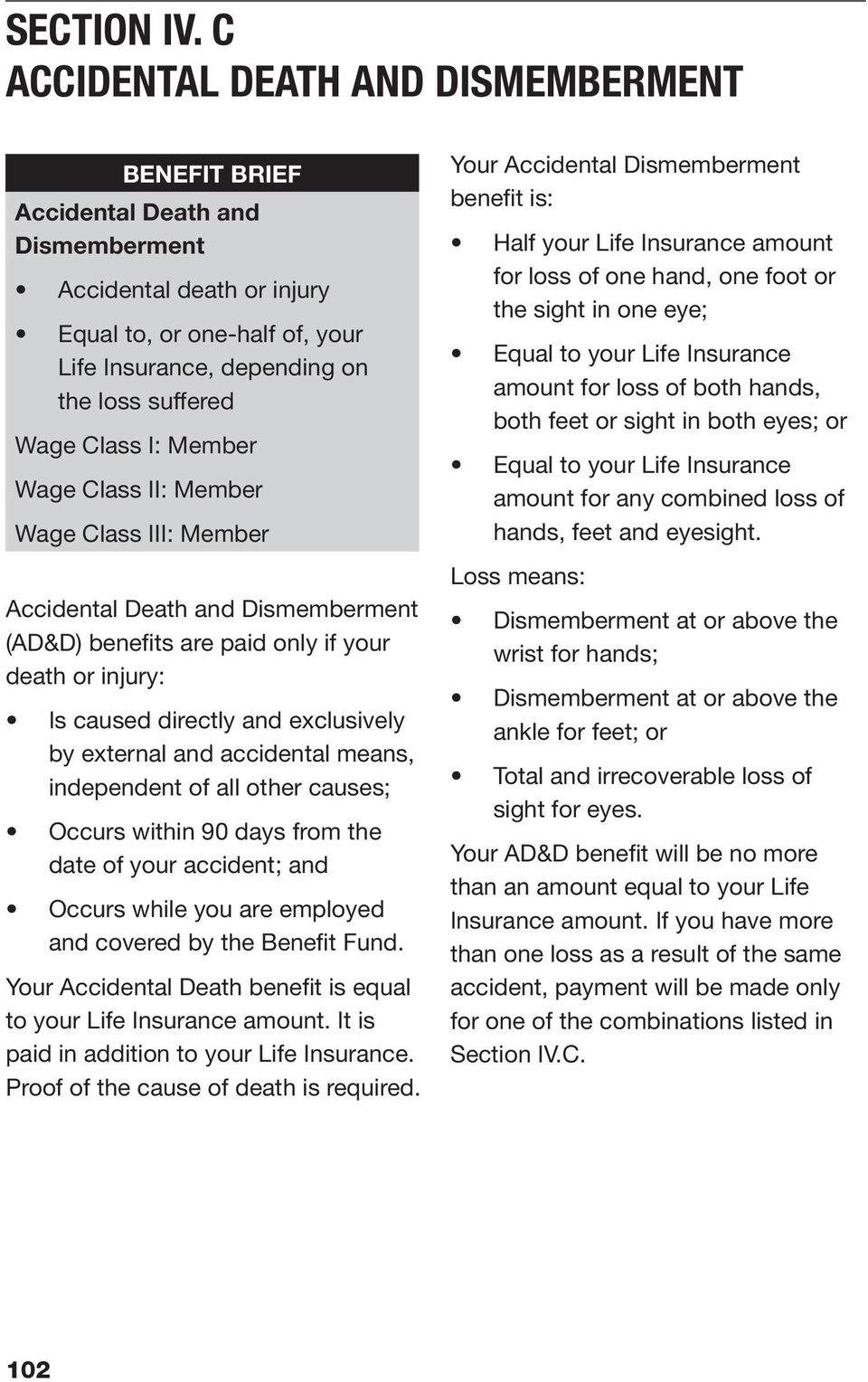 Class I: Member Wage Class II: Member Wage Class III: Member Accidental Death and Dismemberment (AD&D) benefits are paid only if your death or injury: Is caused directly and exclusively by external