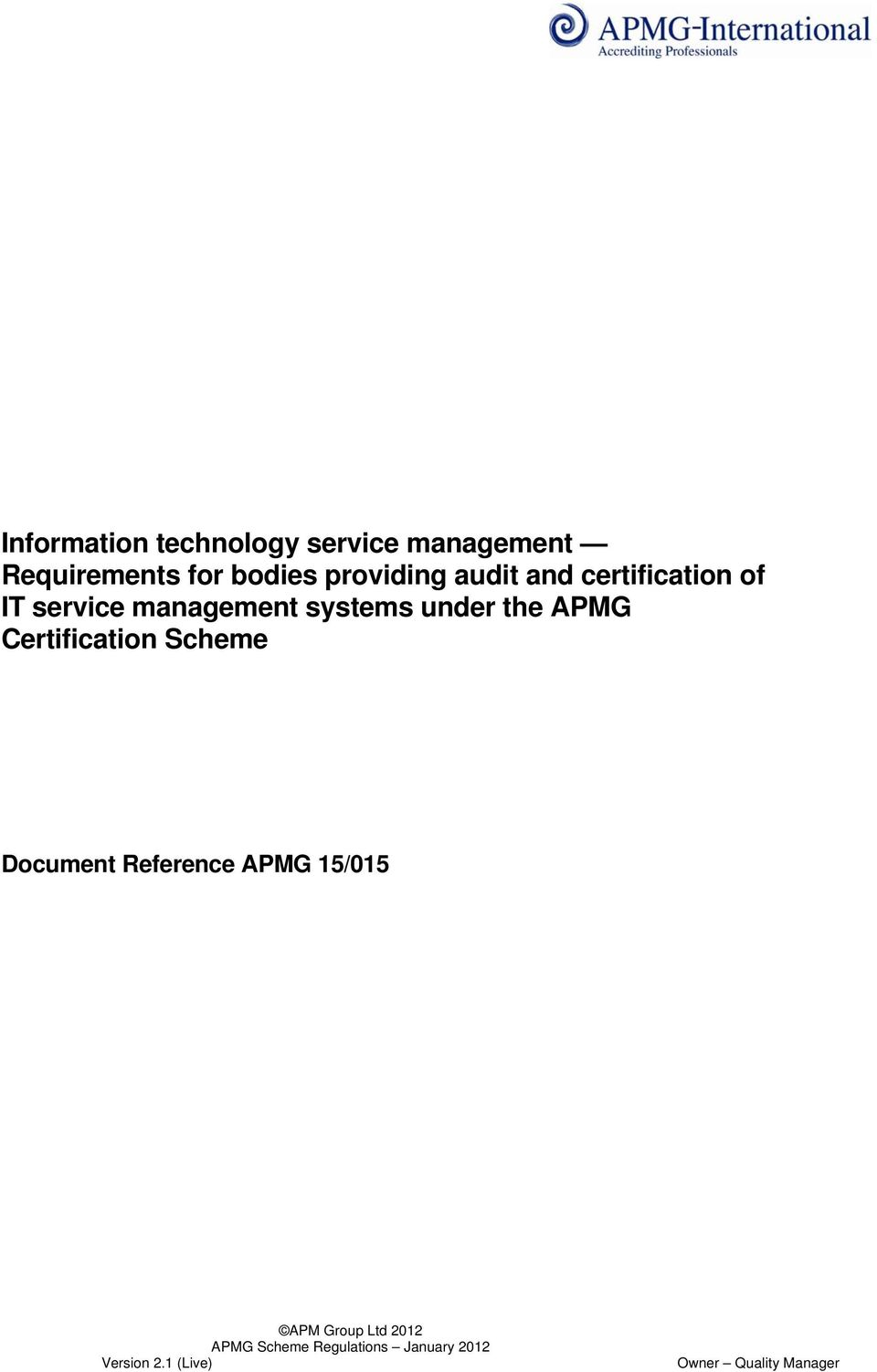 certification of IT service management systems
