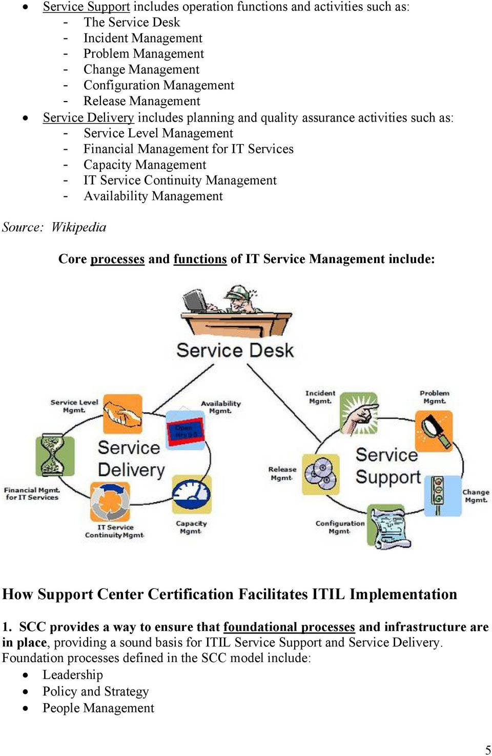 processes and functions of IT Service include: How Support Center Certification Facilitates ITIL Implementation 1.