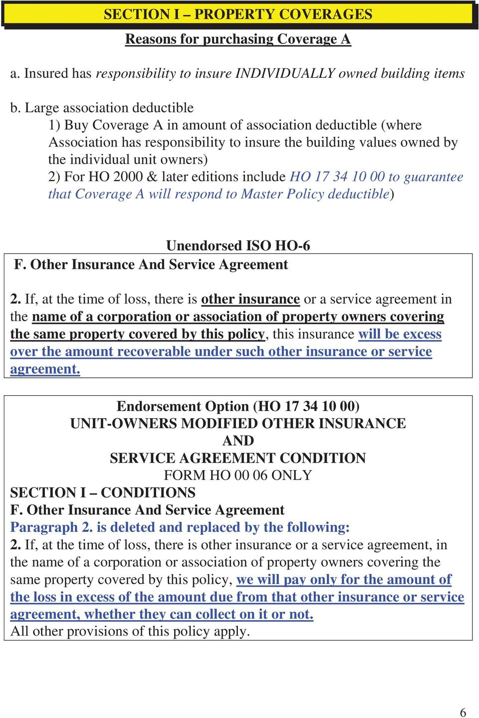 2000 & later editions include HO 17 34 10 00 to guarantee that Coverage A will respond to Master Policy deductible) Unendorsed ISO HO-6 F. Other Insurance And Service Agreement 2.