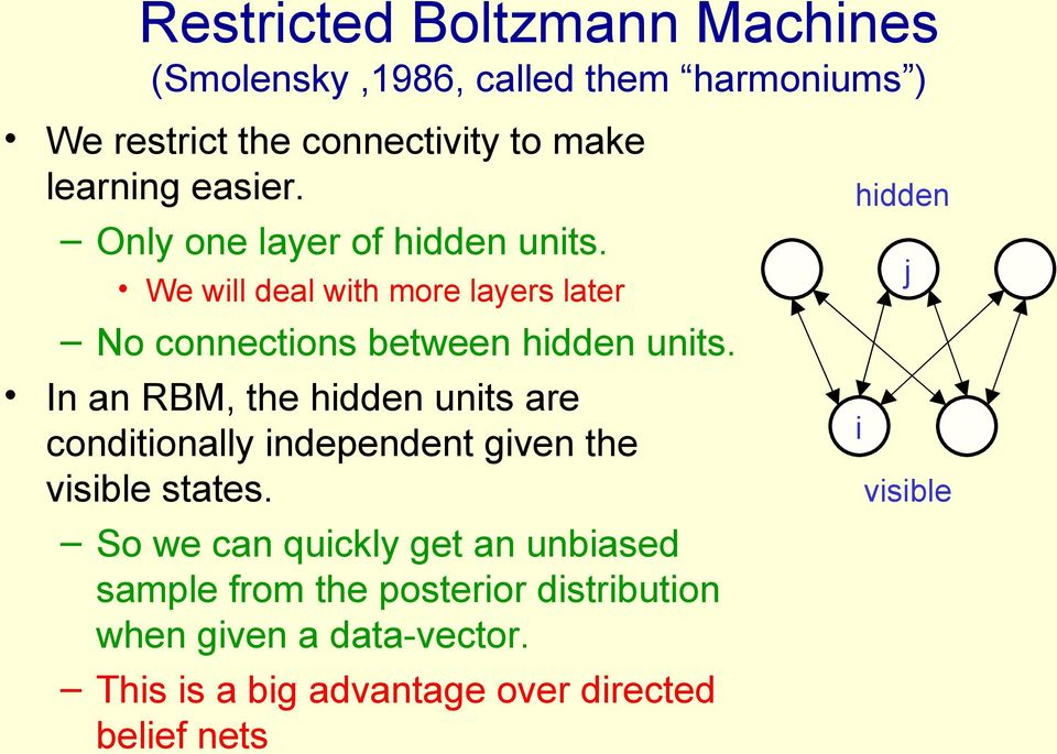 In an RBM, the hidden units are conditionally independent given the visible states.