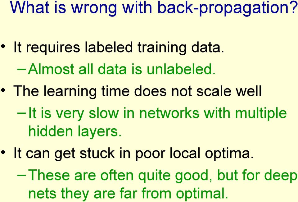 The learning time does not scale well It is very slow in networks with