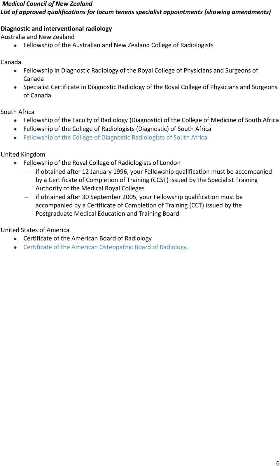 Africa Fellowship of the College of Radiologists (Diagnostic) of South Africa Fellowship of the College of Diagnostic Radiologists of South Africa Fellowship of the Royal College of Radiologists of