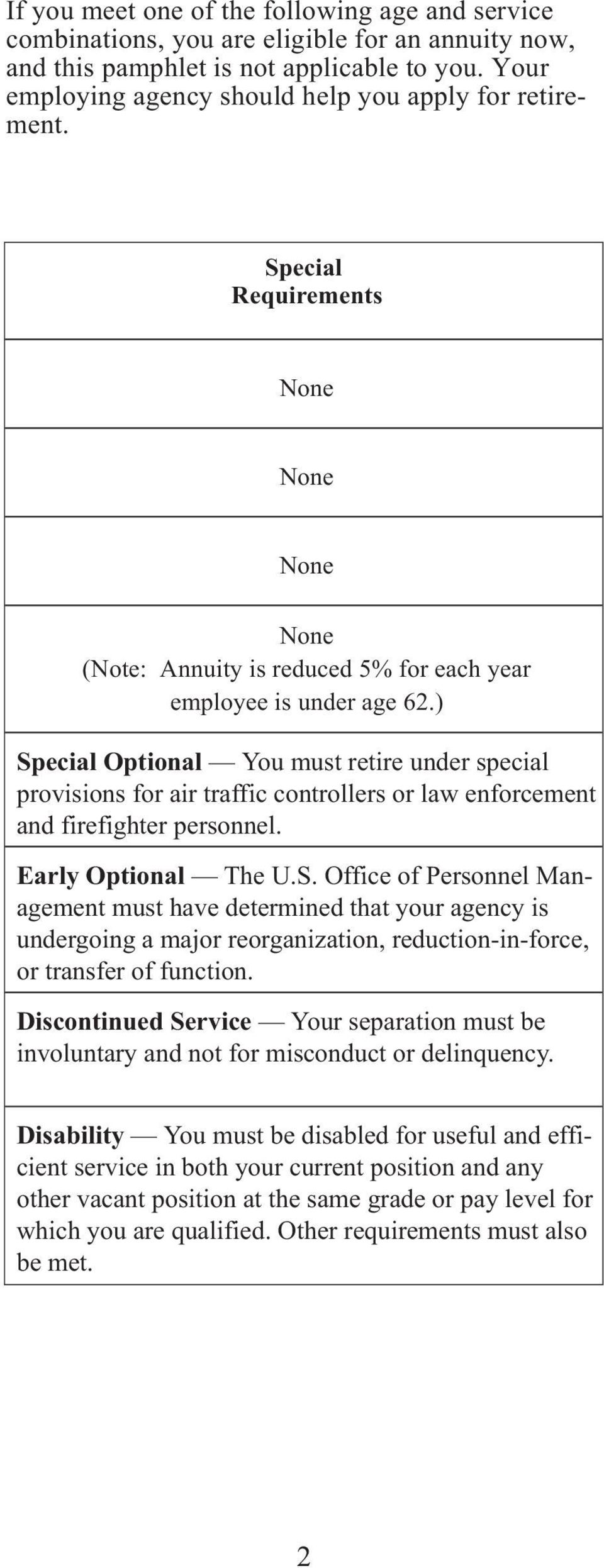 ) Special Optional You must retire under special provisions for air traffic controllers or law enforcement and firefighter personnel. Early Optional The U.S. Office of Personnel Management must have determined that your agency is undergoing a major reorganization, reduction-in-force, or transfer of function.