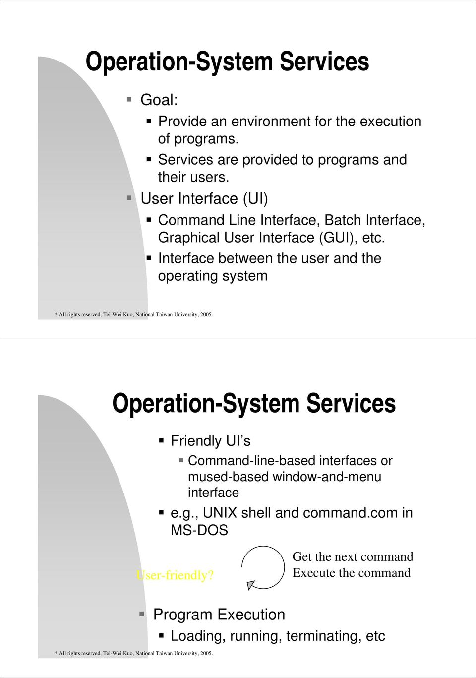 Interface between the user and the operating system Operation-System Services Friendly UI s Command-line-based interfaces or mused-based