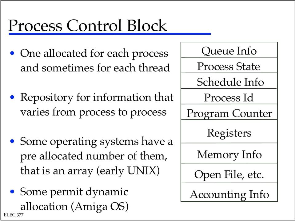 Some operating systems have a pre allocated number of them, that is an array (early UNIX)!