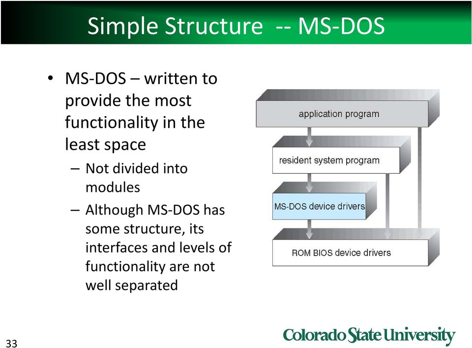 modules Although MS DOS has some structure, its
