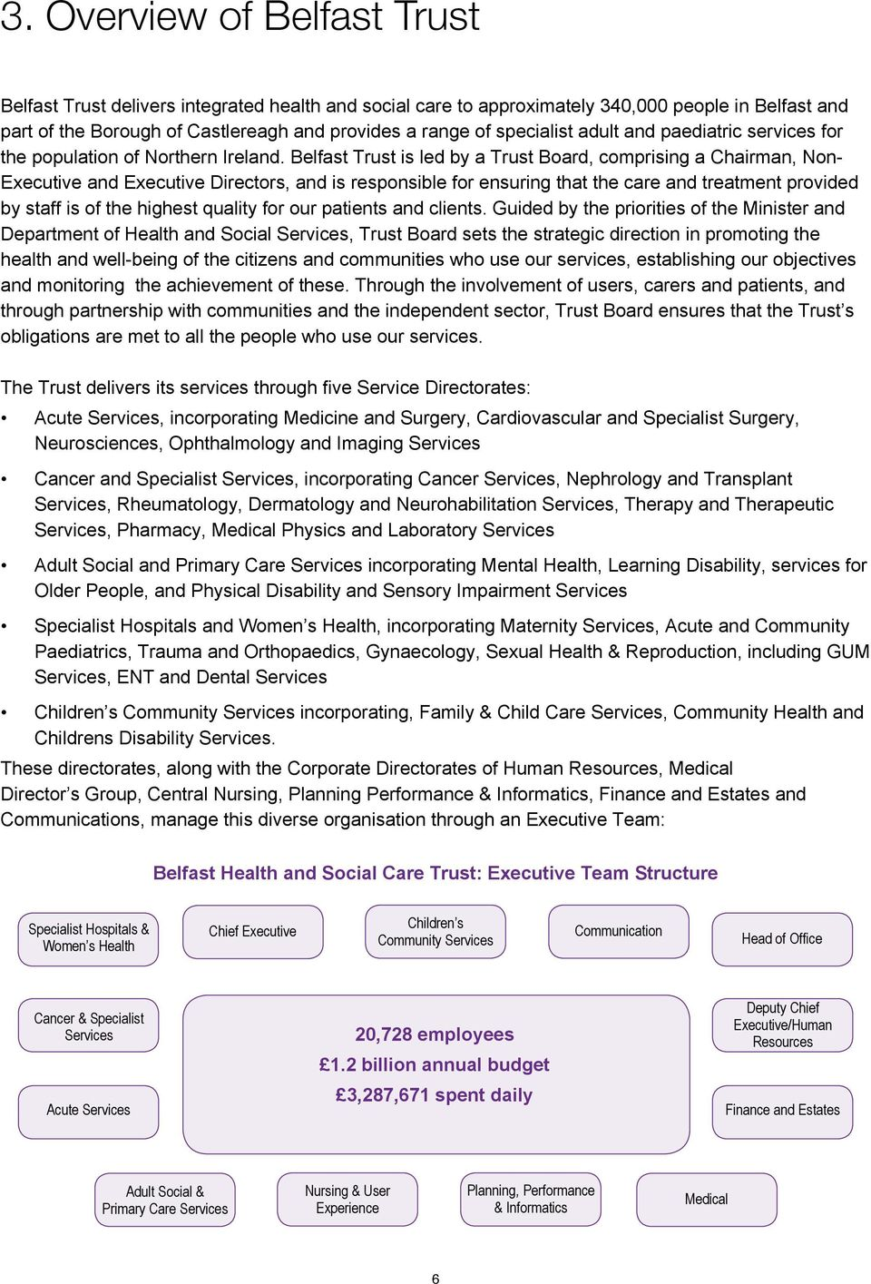 Belfast Trust is led by a Trust Board, comprising a Chairman, Non- Executive and Executive Directors, and is responsible for ensuring that the care and treatment provided by staff is of the highest