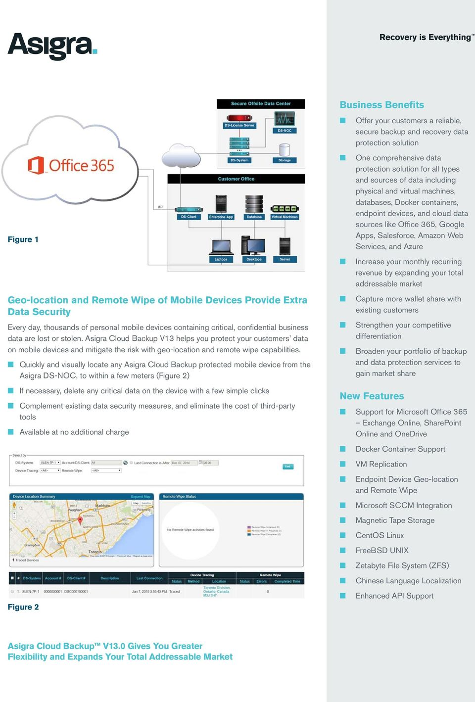 Quickly and visually locate any Asigra Cloud Backup protected mobile device from the Asigra DS-NOC, to within a few meters (Figure 2) If necessary, delete any critical data on the device with a few