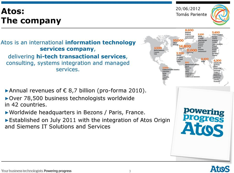 Annual revenues of 8,7 billion (pro-forma 2010). Over 78,500 business technologists worldwide in 42 countries.