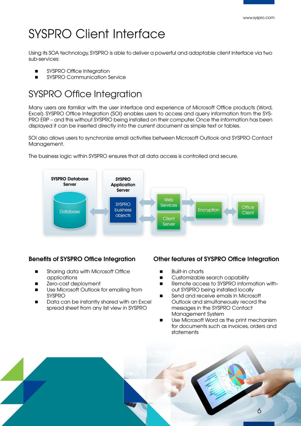 SYSPRO Office Integration (SOI) enables users to access and query information from the SYS- PRO ERP and this without SYSPRO being installed on their computer.
