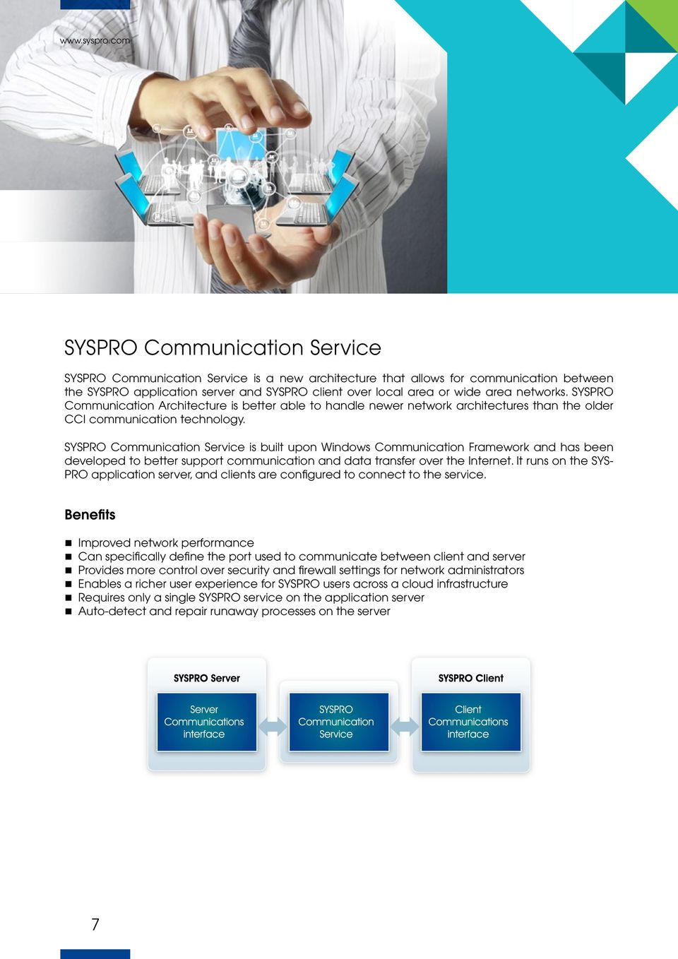 SYSPRO Communication Service is built upon Windows Communication Framework and has been developed to better support communication and data transfer over the Internet.
