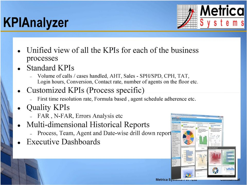 Customized KPIs (Process specific) First time resolution rate, Formula based, agent schedule adherence etc.