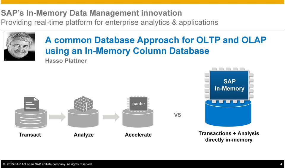 Column Database Hasso Plattner SAP In-Memory cache VS Transact Analyze Accelerate