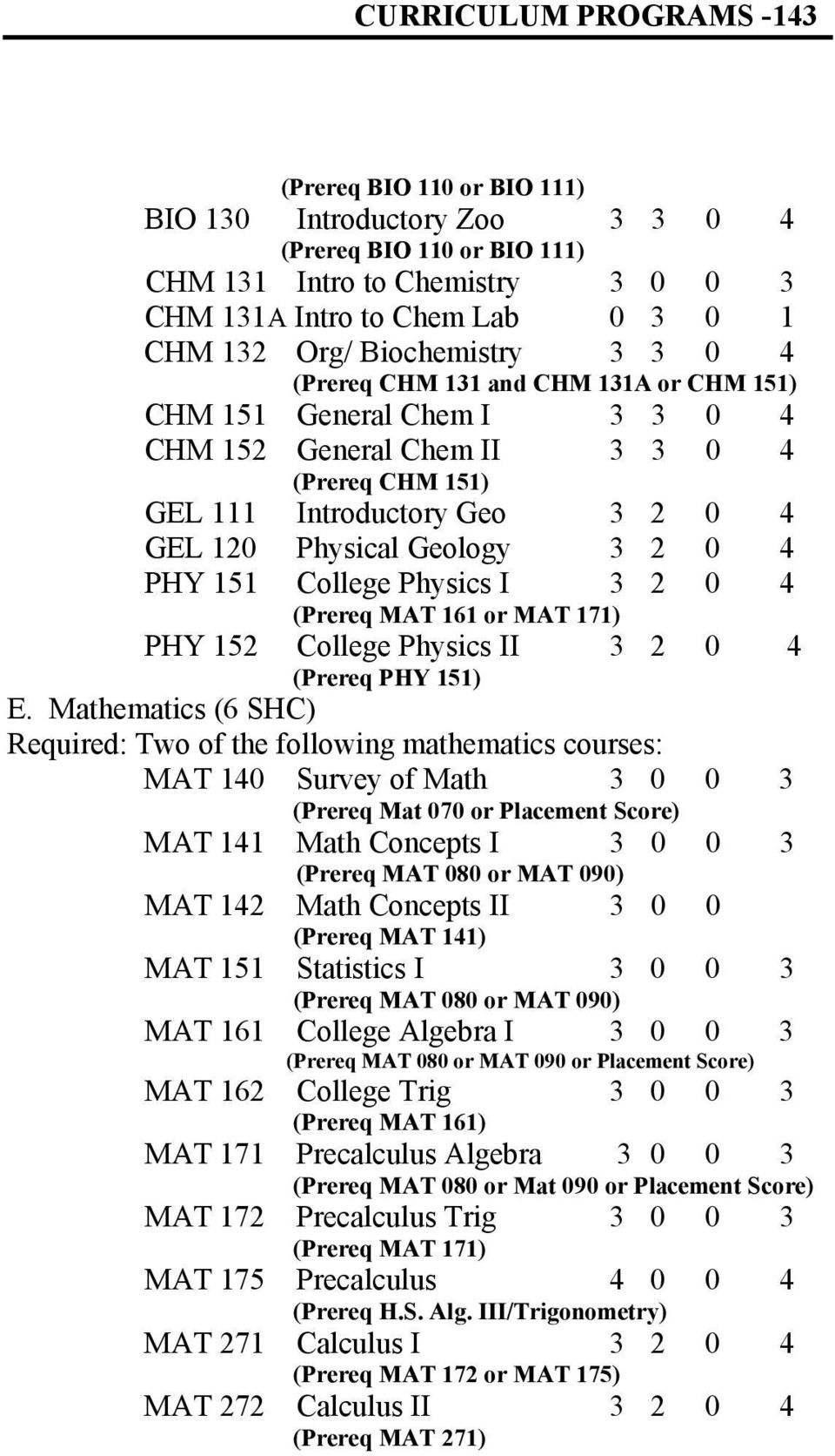 3 2 0 4 PHY 151 College Physics I 3 2 0 4 (Prereq MAT 161 or MAT 171) PHY 152 College Physics II (Prereq PHY 151) 3 2 0 4 E.