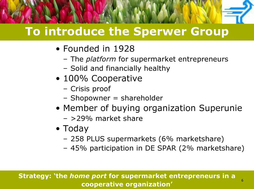 organization Superunie >29% market share Today 258 PLUS supermarkets (6% marketshare) 45%