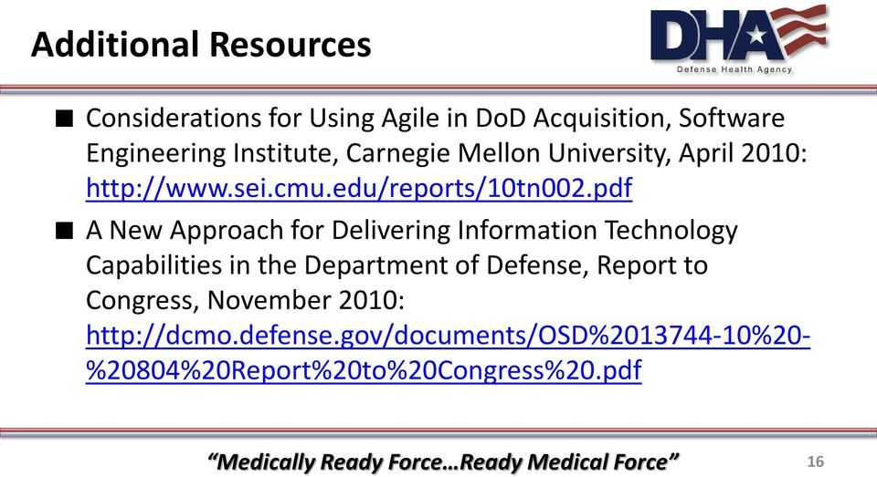 pdf A New Approach for Delivering Information Technology Capabilities in the Department of Defense, Report to