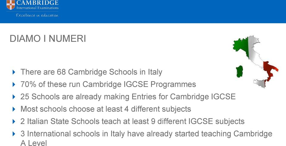 at least 4 different subjects 2 Italian State Schools teach at least 9 different IGCSE
