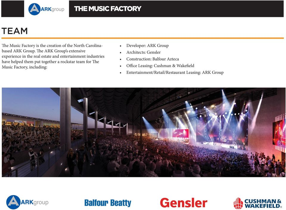 put together a rockstar team for The Music Factory, including: Developer: ARK Group Architects: Gensler