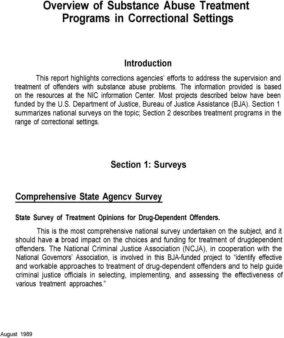 Department of Justice, Bureau of Justice Assistance (BJA). Section 1 summarizes national surveys on the topic; Section 2 describes treatment programs in the range of correctional settings.